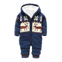 Baby Cotton Rompers Autumn Winter Thick Climbing Clothes Newborn Boys Girls Warm Knitted Sweater Christmas Deer Hooded Outwear