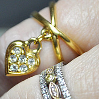 AVON Vintage Gold Dangle Heart Charm Ring With Rhinestones, So Sweet!  #A460