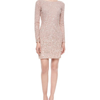 Long-Sleeve Sequined Cocktail Dress, Blush, Size: