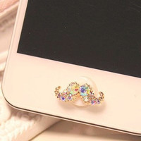 1 pcs  Bling Crystal Natural Shell Base Mustache by AppleCellphone