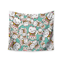 """Juan Paolo """"Ramen Cats"""" Teal White Wall Tapestry"""