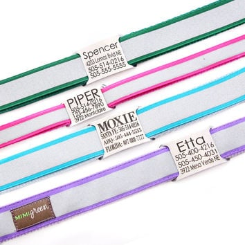 Personalized Name Plate Reflective Dog Collar - Engraved with 8 Reflective Colors to Choose From