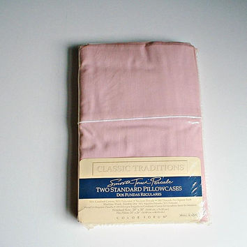 Tea Rose Pillowcases in Package NIP J.C. Penny Classic Traditions Smooth Touch Percale Pink Color Pillow Cases