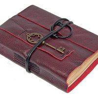 Deep Cherry Red Leather Journal with Tea Stained Paper and Key Bookmark