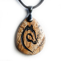 Horse Necklace - Equestrian Jewelry - Engraved Stone Pendant - Picture Jasper