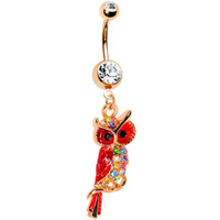 Gold Plated Red Owl Dangle Belly Ring | Body Candy Body Jewelry