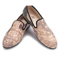 Handcraft men fabric shoes with globe printing design men smoking slippers men casual shoes Party men loafers