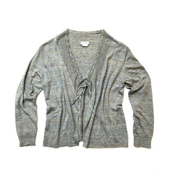 DRIES VAN NOTEN!!! Dries van Noten blue/grey linen knit cardigan with drawcord neckline