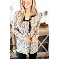 Spotted Latte Top (Taupe) DOORBUSTER