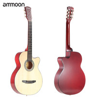 """Red and Beige Ammoon 38"""" 6-String Cutaway Folk Acoustic Guitar with Bag"""