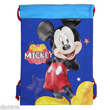 DISNEY MICKEY MOUSE BLUE DRAWSTRING BAG BACKPACK TRAVEL STRING POUCH DISNEYLAND