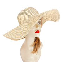 Womens Kentucky Derby Wide Brim Wedding Church Beach Sun Hat - Beige
