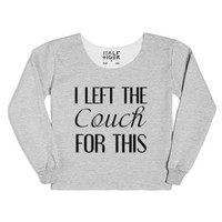 I Left The Couch For This-Female Heather Grey T-Shirt