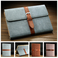 Retro PU Leather Stand Case for iPad 4 3 2 Smart Cover for iPad Mini Business Style with Buckle Fashion design Blue Black Brown