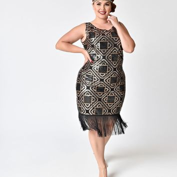 Unique Vintage Plus Size 1920s Style Black & Copper Sequin Sidecar Fringe Flapper Dress