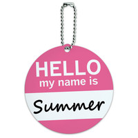 Summer Hello My Name Is Round ID Card Luggage Tag