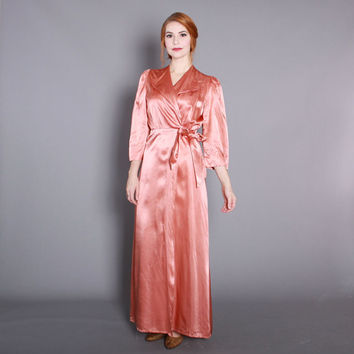 1940s Salmon Pink Satin ROBE / Vintage Early 40s Glossy Dressing Gown, s - m