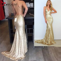 African Champagne Gold Mermaid Prom Dress