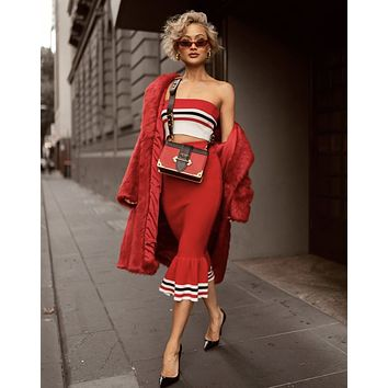 Red Striped Knit Bandeau Mermaid Skirt Two Piece Set