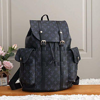 LV Louis Vuitton fashion backpack leather bag large capacity backpack Black