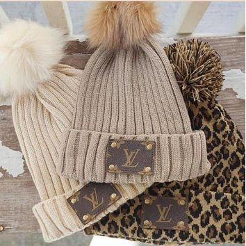 LV Louis Vuitton warm knitted beanie hat