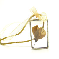 Botanical Flower Necklace Soldered Glass Pendant with Real Pressed Blossom