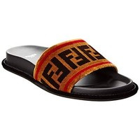 Fendi Ff Velvet & Leather Slide Sandal, 37.5, Black