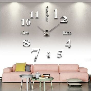 3D Wall Clock Rushed Mirror Living Room