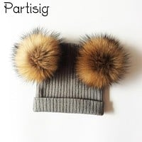 Baby Hat Natural Raccoon Fur Baby Cap Two Pompom Kids Caps Winter Children's Hats With Pompom
