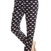 ModCloth Bird Long Tapered Leg Swan and All Pants