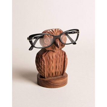 Fair Trade Carved Owl Eyeglass Holder - As-Is-Clearance