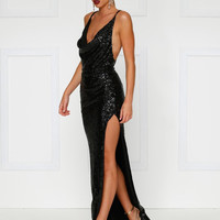 Andriana Sequins Gown- BLACK