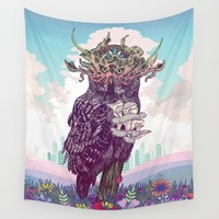Journeying Spirit (Owl) Wall Tapestry by Mat Miller | Society6