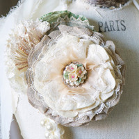 Vintage Rustic Fabric Flower Pin - Ivory, Linen and Lace