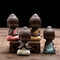 small Buddha statue monk figurine tathagata India Yoga Mandala tea pet purple ceramic crafts Zakka decorative ceramic ornaments