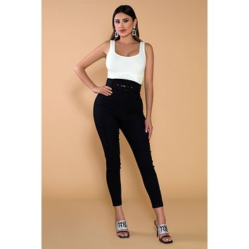 Zola Very High Waisted Belted Skinny Pants