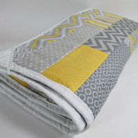 Baby Quilt Handmade Yellow and Gray Nursery Quilt Baby Blanket