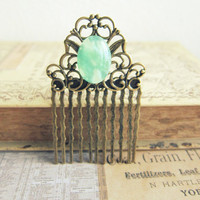 Mint Hair Comb Vintage Inspired Hair Comb Head Piece Bridesmaid Hair Comb Victorian LOTR Hair Comb Lord of the Rings
