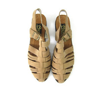 80s tan leather huaraches strappy leather sandals cut out woven brown leather sandals womens leather flats boho sandals size 11