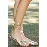 That's A Wrap Gold Lace-Up Sandals