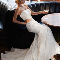 Lace Over Charmeuse Gown with Soutache Detail - David's Bridal- mobile