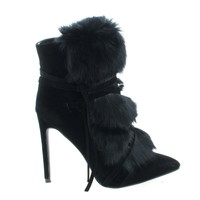 Xaya4 Black by Liliana, Black Suede Faux Fur Lace Wrap High Heel Dress Ankle Booties