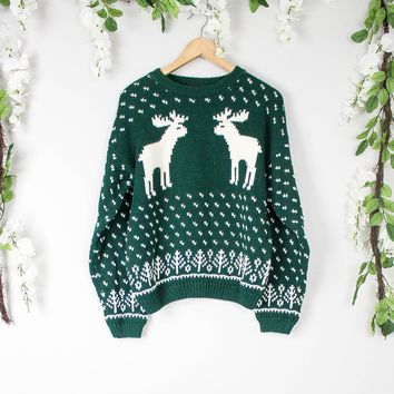 Vintage Deer Nordic Green Sweater