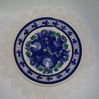 Vintage decorative Polish plate/ Hand painted Hand decorated Flowery Flower Roses/ White Blue Polish pottery Polish ceramics/ wall dish 80's