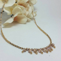 Gold bohemian necklace -  Gypsy Gold beaded necklace - Boho beaded necklace - Rose and Gold beaded necklace - Gypsy gold beaded necklace -