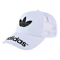 Adidas Fashion New Embroidery Leaf Letter Women Men Mesh Sun Protection Cap Hat White