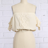 Cream Shoulderless Crochet Crop Top