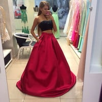 Beading Black Two Pieces Long Red Elegant Prom Dress Long Homecoming Dress