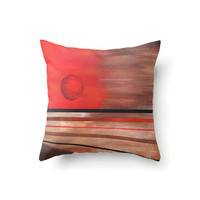 Square Pillow Cover abstract sun design in browns and oranges, indoor or outdoor throw pillow covers in 16 x 16, 18 x 18 or 20 x 20 inch