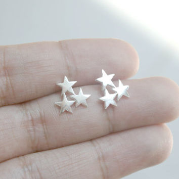 925 Sterling Silver 3 Stars Stud Earrings, Star Stud Earrings, 3 Star Earrings, Star Jewelry, Bridesmaid Gift, Bridal Jewelry, Gift for her